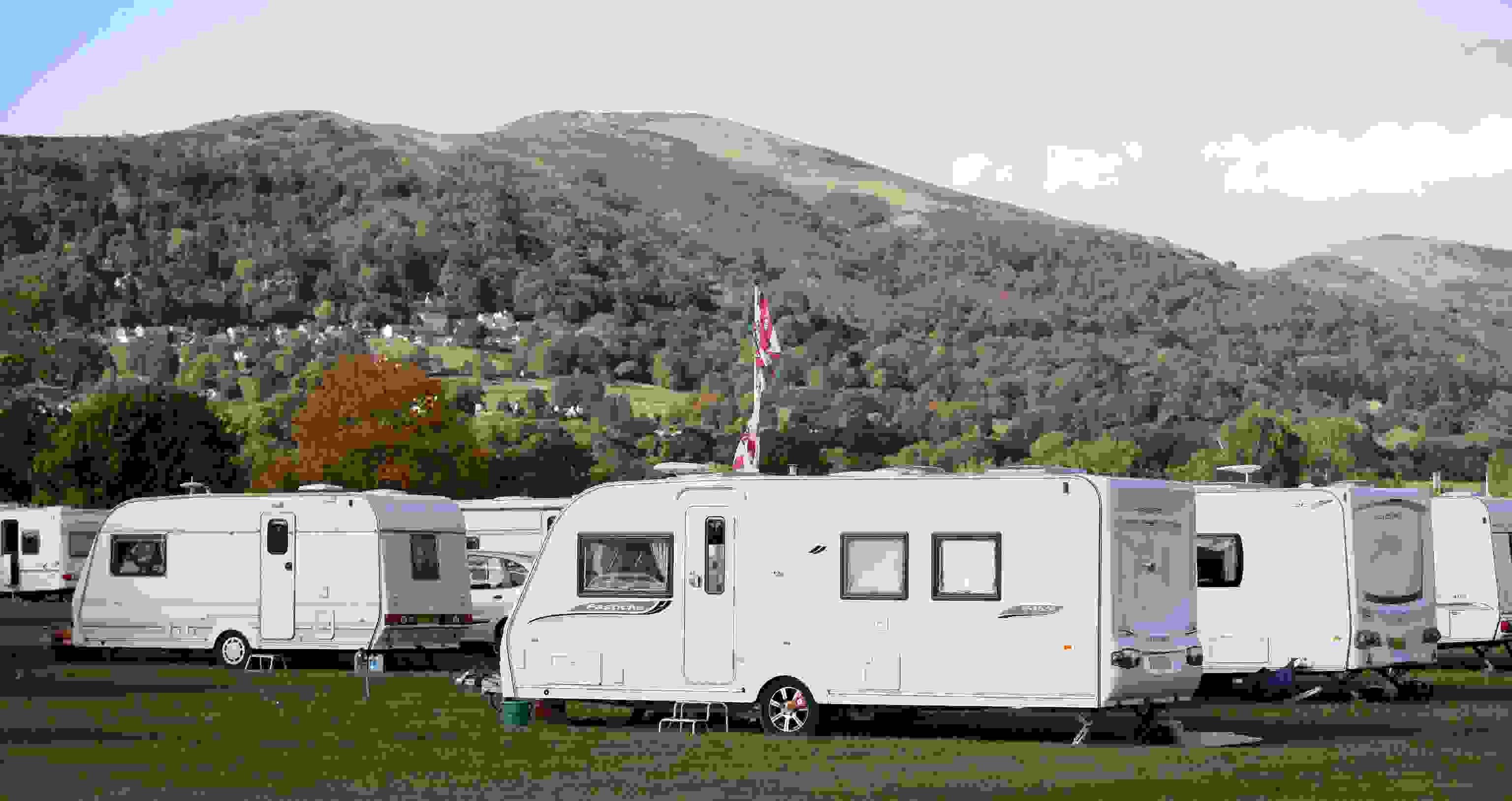 Caravan and Malvern Hills Backdrop